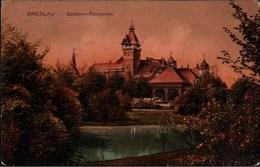 ! Alte Ansichtskarte 1914 Breslau, Wroclaw, Südpark Restaurant, Bahnpoststempel - Schlesien