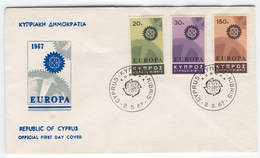 CYPRUS 1967 Europa First Day Cover Mi. Nr. 292-294 - Europa-CEPT
