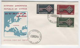 CYPRUS 1968 Europa First Day Cover Mi. Nr. 307-309 - Europa-CEPT