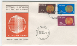 CYPRUS 1970 Europa First Day Cover Mi. Nr. 332-335 - Europa-CEPT