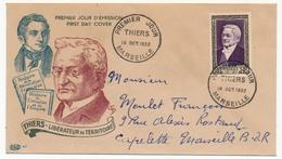 FRANCE - Enveloppe FDC - Adolphe THIERS - Premier Jour - MARSEILLE - 1952 - FDC