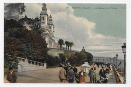 (RECTO / VERSO) MONACO EN 1910 - N° 78 - LA TERRASSE ET LE CASINO AVEC PERSONNAGES - BEAU CACHET - CPA VOYAGEE - Casino