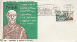 Enveloppe   FDC  Flamme  1er  Jour   FRANCE   Hippolyte TAINE   VOUZIERS    1966 - 1960-1969