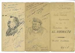 MENU ORIGINAL ECOLE CENTRALE LYONNAISE 1920 PROMOTION DES AS - NORMAUX BOULOT D'ADIEUX SIGNATURES - Menus
