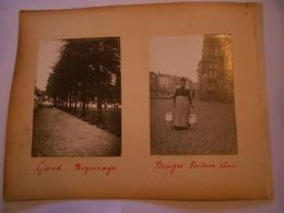 Lot De 4 Photographies Originales Circa 1900 Gand Porteuse D' Eau Béguinage Le Canon Ruines Photo Photographie FAOUE - Lieux