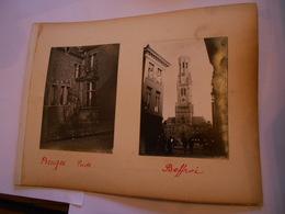 Lot De 4 Photographies Originales Circa 1900 Bruges Puits Beffroi Photo Photographie FAOUE - Lieux