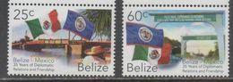 BELIZE , 2017, MNH, DIPLOMATIC RELATIONS WITH MEXICO, FLAGS, BRIDGES, 2v - Bridges