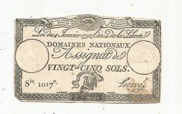Assignat 1792 , VINGT CINQ SOLS ,25 , L'an 4 De La Liberté, Signé Hervé , Serie 1017 E - Assignats