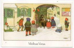 Illustrateur  PEBNER -- Enfants ,luge --Meilleurs Voeux-- Format  14 X 9 - Illustrators & Photographers