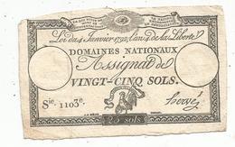 Assignat 1792 , VINGT CINQ SOLS ,25 , L'an 4 De La Liberté, Signé Hervé , Serie 1103 E - Assignats