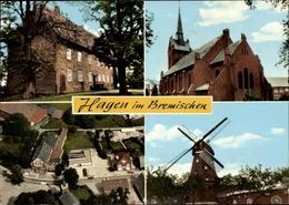 Cp Hagen In Niedersachsen, Kirche, Windmühle, Totale, Schule - Duitsland