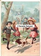 Chromo-Billet Tombola ASSOCIATION CORREZIENNE Bordeaux 33 - Enfants Jouant Au Badmington  -  Scans Recto-verso - Autres