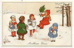 Illustrateur  L.D -Meilleurs Voeux - Enfants Jouant Dans La Neige (poupée,cadeau,trompette......) Format  14 X 9 - Illustrators & Photographers
