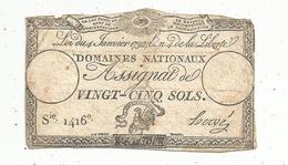 Assignat 1792 , VINGT CINQ SOLS ,25 , L'an 4 De La Liberté, Signé Hervé , Serie 1416 E - Assignats