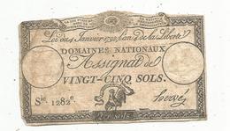 Assignat 1792 , VINGT CINQ SOLS ,25 , L'an 4 De La Liberté, Signé Hervé , Serie 1282 E - Assignats