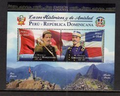 PERU, 2017, MNH,JOINT ISSUE WITH THE DOMINCAN REPUBLIC, MILITARY, FLAGS, MOUNTAINS, MACHU PICCHU, S/SHEET - Joint Issues