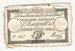 Assignat 1792 , VINGT CINQ SOLS ,25 , L'an 4 De La Liberté, Signé Hervé , Serie 1637 E - Assignats