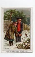 CHROMO 19ème H. & F Bonne Année Love Joy Peace Crown Thy New Year Couple Enfants Hiver Neige Oiseau Poême The Maze - Autres