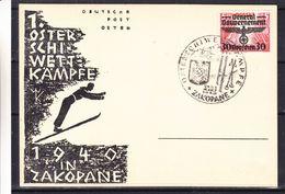 Pologne - Generalgouvernement - Carte Postale De 1940 - Oblit Zakopane - Ski - Osterschiwettkampfe - Croix Gammée - Besetzungen 1938-45