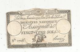 Assignat 1792 , VINGT CINQ SOLS ,25 , L'an 4 De La Liberté, Signé Hervé , Serie 1706 E - Assignats