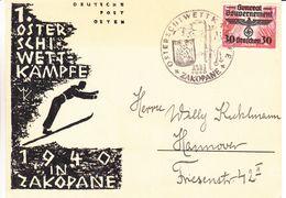 Pologne - Generalgouvernement - Carte Postale De 1940 - Oblit Zakopane - Exp Vers Hannover - Ski - Besetzungen 1938-45