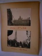 Lot De 3 Photographies Originales Circa 1900 Bruges Anvers Hotel De Ville Place Verte FAOUE Photo Photographie - Lieux