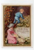 CHROMO 19ème F.E.E.H. Bonne Année New Year's Greeting Couple Enfants Fill Garçon Fleurs Bois - Autres