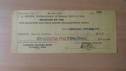 P1009.9  CHECK - US -- OTTUMWA  -IOWA - Citizens Savings Bank  1926 - United States