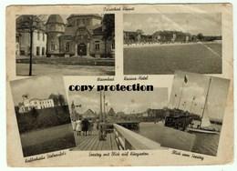 Ostseebad Zoppot, Warmbad, Kasino Hotel, Kaffeehaus Stolzenfels, Seesteg, Alte Ansichtskarte 1943 - Polen