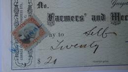 P1009.12  CHECK - Farmer's And Mechanics' National Bank -$20 - 1874  Georgetown (Washington D.C.) - United States