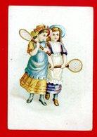 St Germain En Laye, Au Fil De La Vierge, Mme Vve Bion, 33 Rue De Poissy, Chromo Fillettes, Badminton, Imp. Lessertisseux - Autres