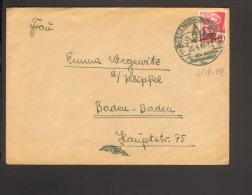 Frz.Zone Baden 20 Pfg.Pers.u.Ansichten 1949 Auf Brief Aus Tiengen (Oberrhein) M.Ortswerbestempel - Zone Française