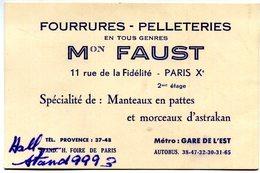 PARIS 10em ARRONDISSEMENT(CARTE DE VISITE) MAGASIN DE FOURRURE - Visiting Cards