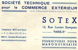 PARIS 10em ARRONDISSEMENT(CARTE DE VISITE) SOCIETE TECHNIQUE COMMERCE - Visiting Cards
