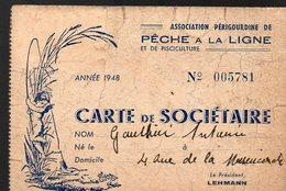Annesse-Beaulieu (entre Autres) (24 Dordogne) Carte De Sociétaire (pêche à La Ligne) 1948 (PPP13474) - Vecchi Documenti