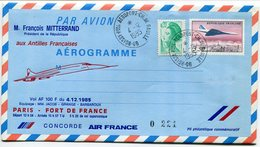 RC 9306 CONCORDE VOL PRESIDENTIEL MITTERRAND 1985 PARIS - FORT DE FRANCE MARTINIQUE FFC LETTRE COVER - Concorde