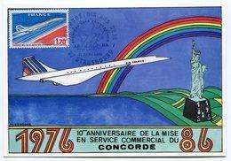 RC 9309 CONCORDE 1986 DIX ANS DEJA 1er VOLS COMMERCIAUX 67 STRASBOURG CARTE MAXIMUM LETTRE COVER - Concorde