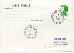 RC 9310 CONCORDE 1986 CONCORDE EN AUVERGNE 63 AULNAT SUR ENTIER LETTRE COVER - Concorde