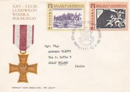 BUSTA VIAGGIATA RACCOMANDATA  - POLONIA - XXV - LECIE LUDOWEGO WOJSKA POLSKIEGO - 1989 - 1944-.... Repubblica