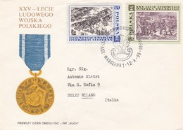 BUSTA VIAGGIATA RACCOMANDATA  - POLONIA - XXV - LECIE LUDOWEGO WOJSKA POLSKIEGO - 1989 - Storia Postale
