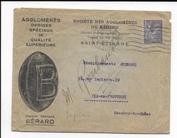 """1945 - ENVELOPPE PUB DECOREE De """"AGGLOMERES BERARD"""" De SAINT ETIENNE (LOIRE) - IRIS SEUL SUR LETTRE - 1921-1960: Modern Tijdperk"""