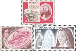 Monaco 1084,1085,1086 (complete.issue.) Unmounted Mint / Never Hinged 1973 Cayley, Rugby, Therese - Monaco