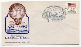 RC 9338 CONCORDE 1985 BICENTENAIRE TRAVERSÉE DE LA MANCHE EN MONGOLFIERE BALLON FFC LETTRE COVER - Airships