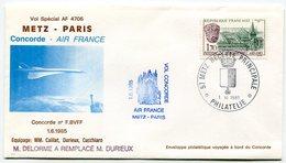 RC 9347 CONCORDE 1985 1er VOL AIR FRANCE METZ - PARIS  FFC LETTRE COVER - Concorde