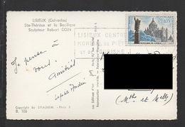 DF / SUR CARTE POSTALE TP 1268 BASILIQUE DE LISIEUX / OBL. Et FLAMME DE LISIEUX - Covers & Documents