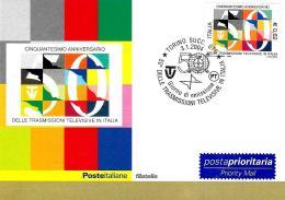 [MD1862] CPM - CINQUANTESIMO ANNIVERSARIO DELLE TRASMISSIONI TELEVISIVE IN ITALIA - CON ANNULLO 3.1.2004 - NV - Cartoline