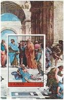 Ajman 1972 Miniature Sheet Raphael Fresco Vatican Italy School Of Athens Vinci Plato Perforated CTO - Ajman