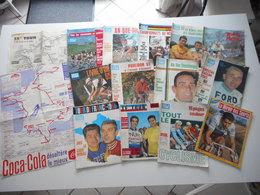 CYCLISME, TOUR DE FRANCE 1965, BEAU LOT DE REVUES ET CARTE DU TOUR, N° SPECIAUX, MIROIR - Sport