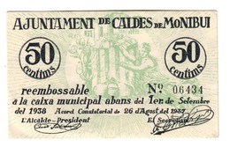 Spain Montbui 50 Centims 1937 AUNC - [ 3] 1936-1975 : Regime Di Franco