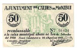 Spain Montbui 50 Centims 1937 AUNC - Andere